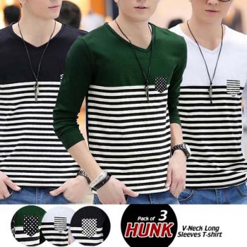 Pack of 3 Hunk V-Neck Long Sleeves T-Shirts
