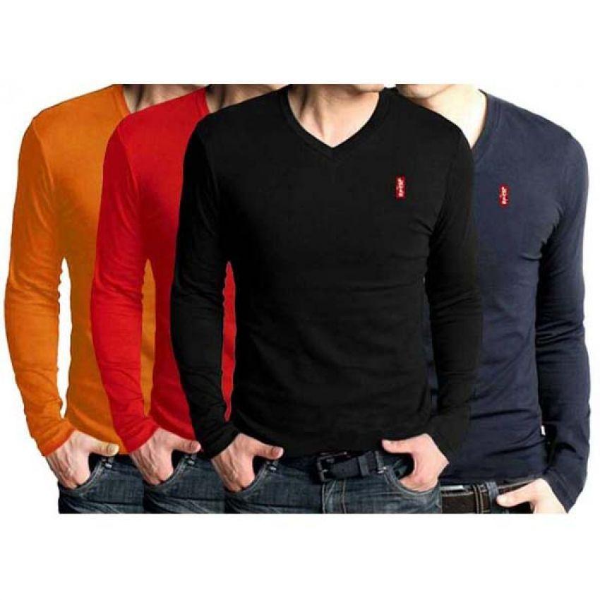 2ee0949de7ae Pack Of 4 V-Neck Full Sleeves T-Shirts For Men in Pakistan