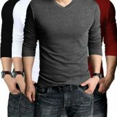 Pack Of 4 Full Sleeves V-neck T-Shirts For Him