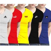 Pack Of 5 Printed Half Sleeves T-Shirts For Him