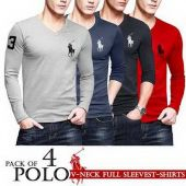 Pack of 4 polo V neck Full sleeves T-shirts