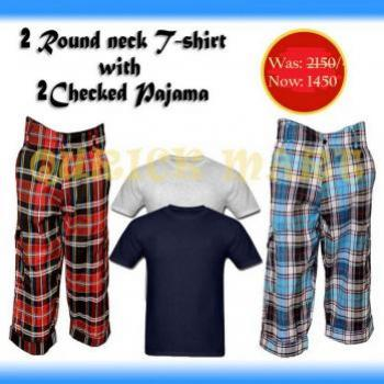 2 CHECKERD PAJAMAS WITH 2 ROUND NECK T SHIRT NEW