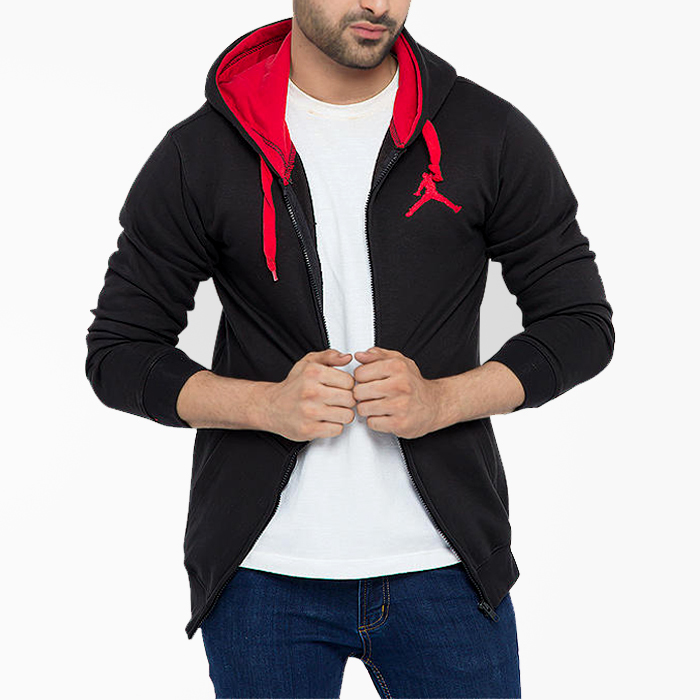 Black Fleece Stylish Zipper Hoodie With Red Contrast