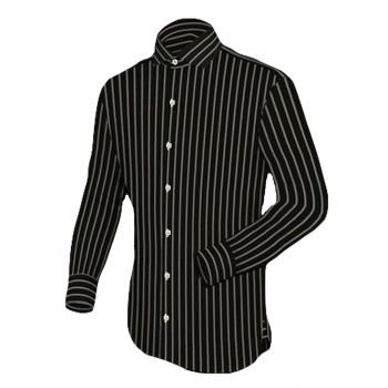 Apparel Black Silver Stripes Basic Casual Shirt Co