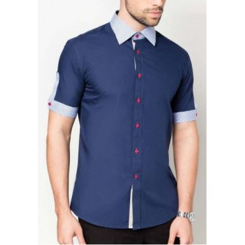 Apparel Blue Half Sleeves Check Contrast Designer