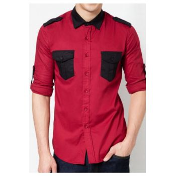 Apparel Red With Black Contrast Designer Shirt Cod