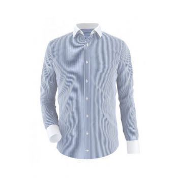 Blue Stripes With White Contrast Formal Shirt Code