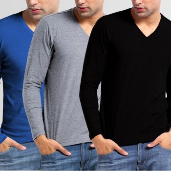 Bundle Of 3 V-Neck Full Sleeves T-Shirt