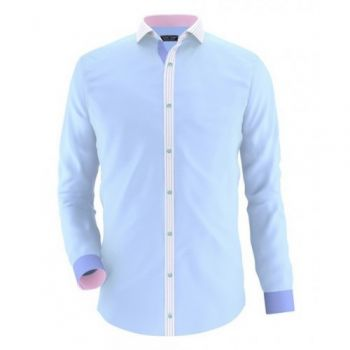 Envogue Apparel Sky Blue Casual Shirt With Contras