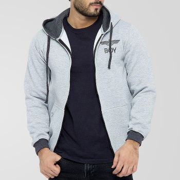 Grey Fleece Stylish Zipper Hoodie