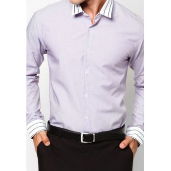 Light Purple Contrast Semi Formal Shirt Contrast S