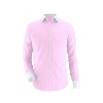 Pink With White Contrast Semi Formal Shirt Code Ox