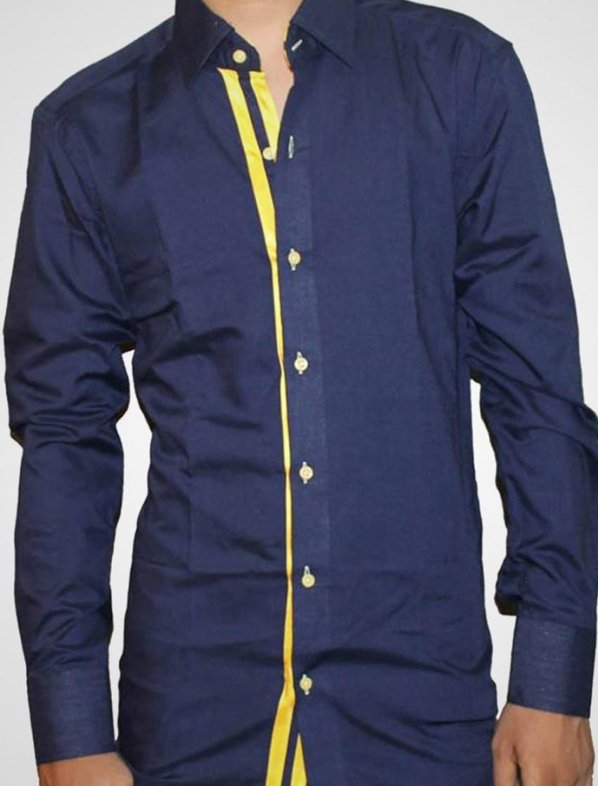 CLEARANCE SALE OF BLUE DESIGNER SHIRT WITH YELLOW