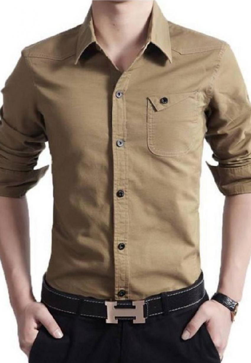 Clearance sale of casual shirt in brown color in pakistan for Mens dress shirts outlet