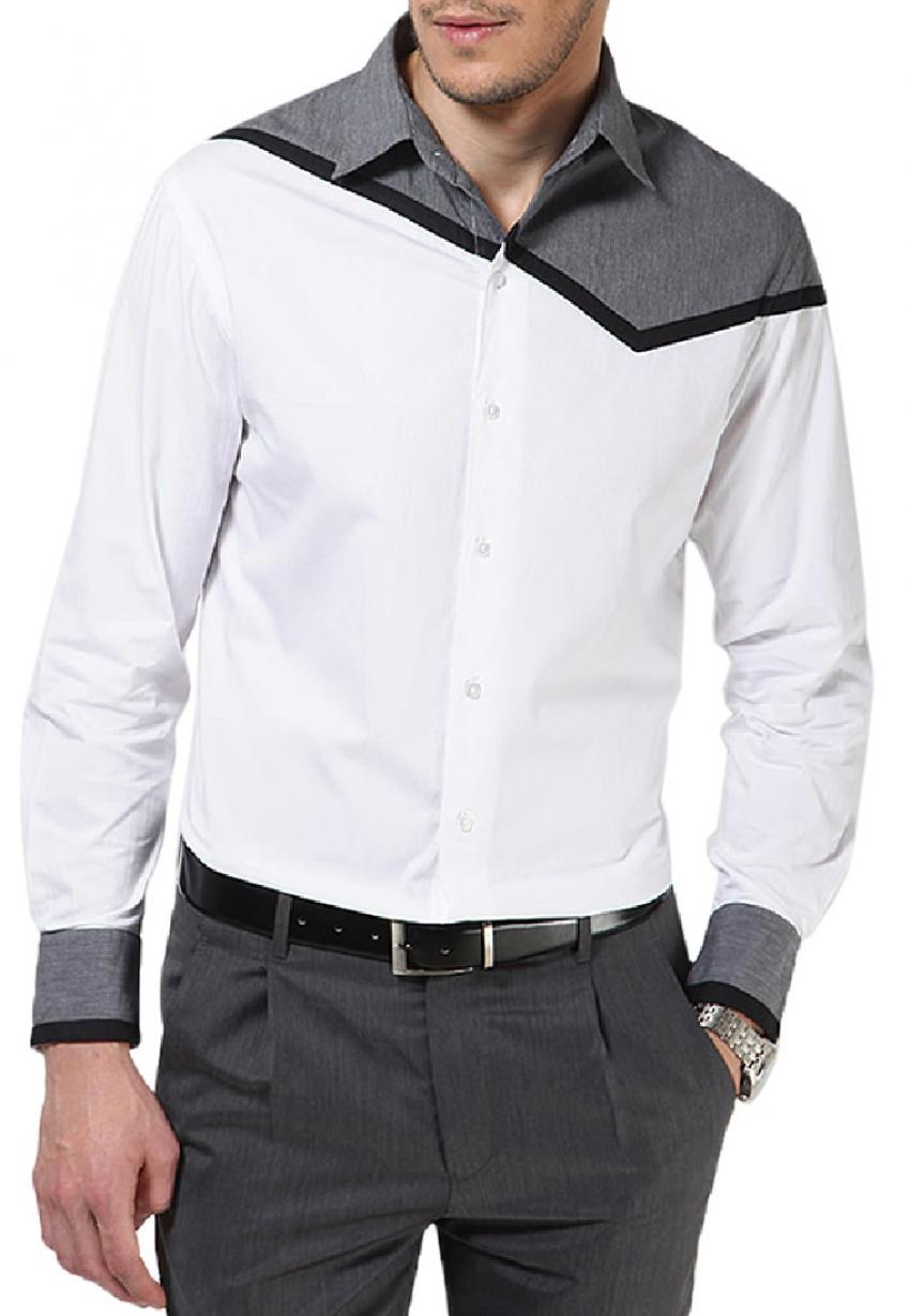 CLEARANCE SALE OF CASUAL SHIRT IN GREY AND WHITE C