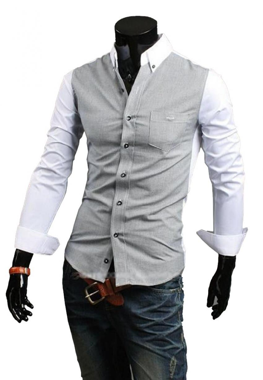 CLEARANCE SALE OF DESIGNER SHIRT IN GREY AND WHITE COLOR