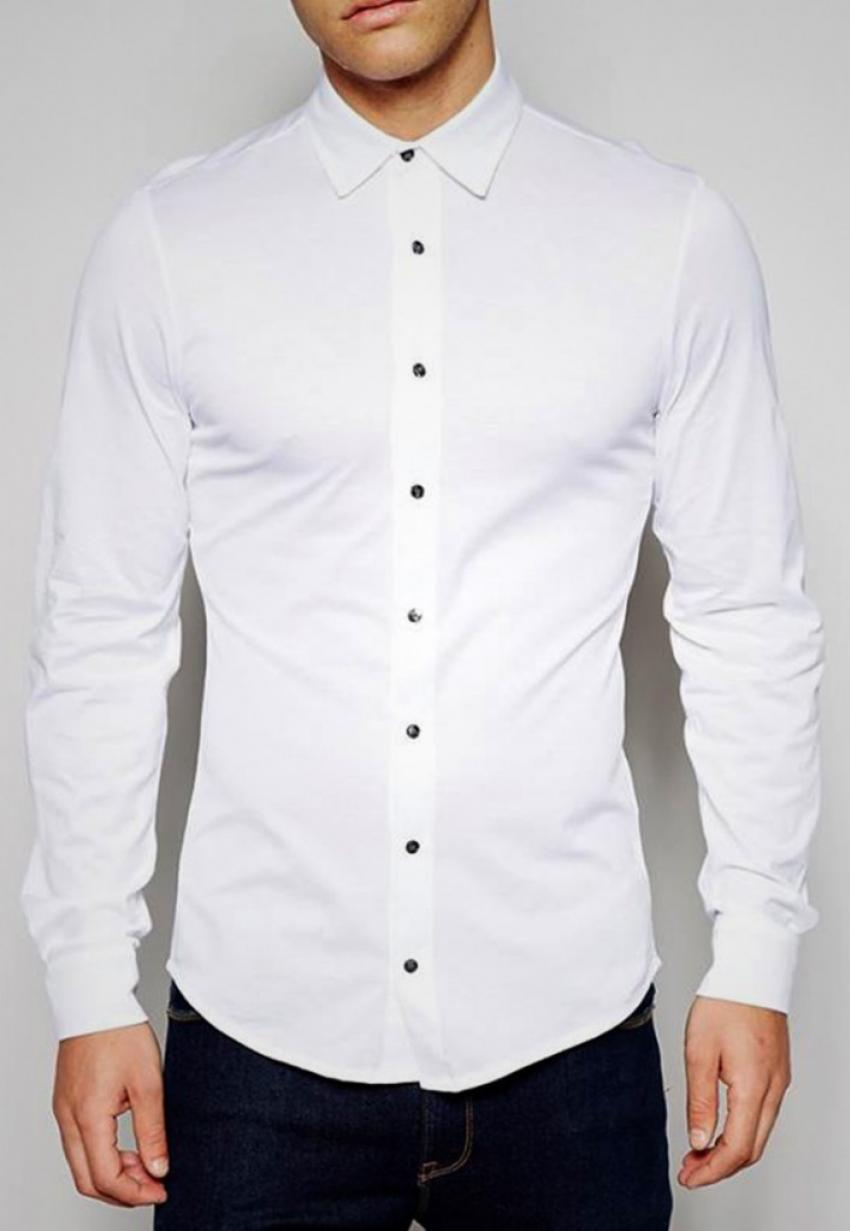 CLEARANCE SALE OF WHITE SLIM FIT CASUAL SHIRT WITH