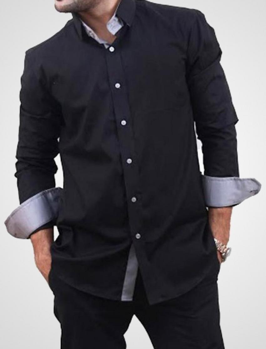 CLEARANCE SALE OF BLACK DESIGNER SHIRT WITH GREY T