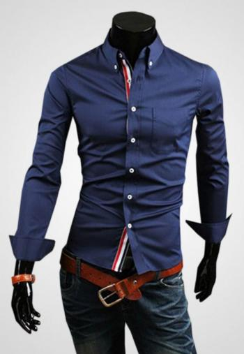 CLEARANCE SALE OF BLUE CASUAL SHIRT WITH CONTRAST