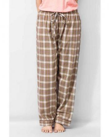 VALERIE BROWN COTTON CHECKERED SLEEPWEAR PAJAMAS