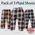 PACK OF 3 PLAID SHORTS FOR MENS