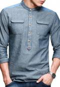 CLEARANCE SALE OF SHARWANI COLLAR BLUE CASUAL SHIR