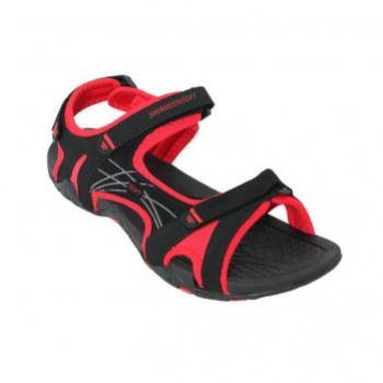 RED AND BLACK THREE STRAP CASUAL SANDAL