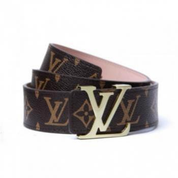 LOUIS VUITTON DAMIER BROWN PRINTED BELT WITH GOLDE