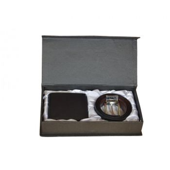 Black Leather Wallet  Leather Belt Gift Box for Me