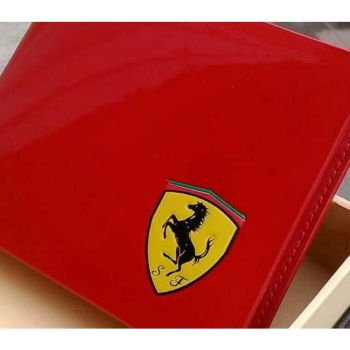 Ferrari Red Glossy 3D imported Leather Wallet