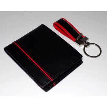 Mens Leather Wallet Keychain Set