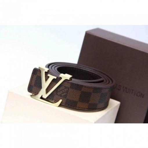 LOUIS VUITTON DAMIER BROWN BELT WITH GOLDEN BUCKLE