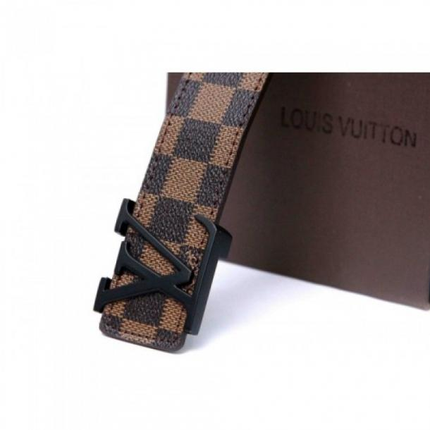 LOUIS VUITTON DAMIER BROWN BELT WITH BLACK BUCKLE