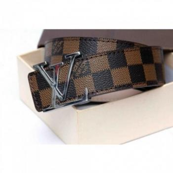 LOUIS VUITTON DAMIER BROWN BELT WITH SILVER BUCKLE