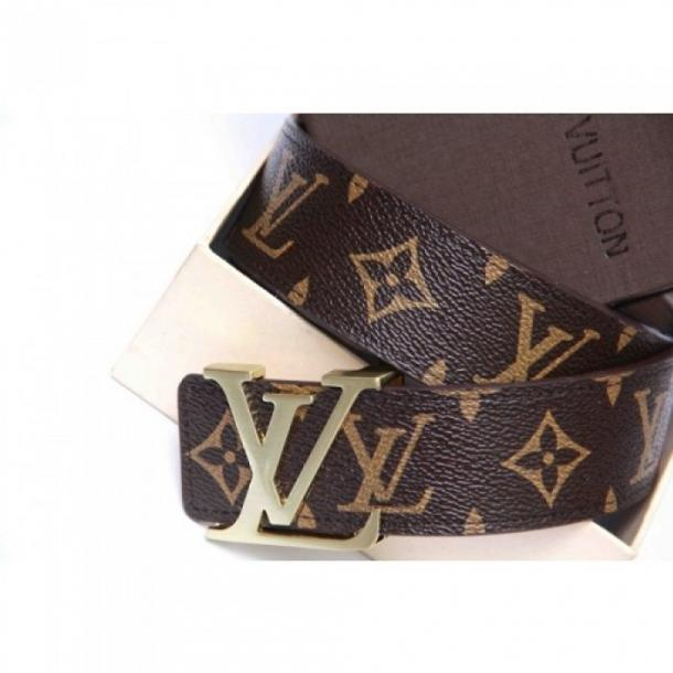 LOUIS VUITTON DAMIER BROWN PRINTED BELT WITH GOLDEN BUCKLE