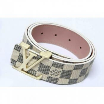 LOUIS VUITTON GOLD INITIAL BUCKLE  WHITE BELT