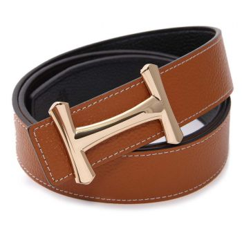 Gold Curvy H Buckle Camel Black Reversible Belt