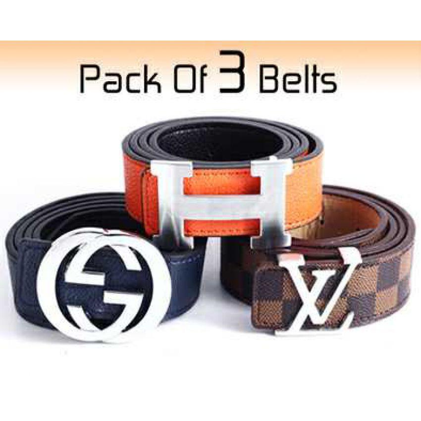 006679fd66a3 Pack Of 3 Belts Hermes Gucci Louis Vuitton in Pakistan
