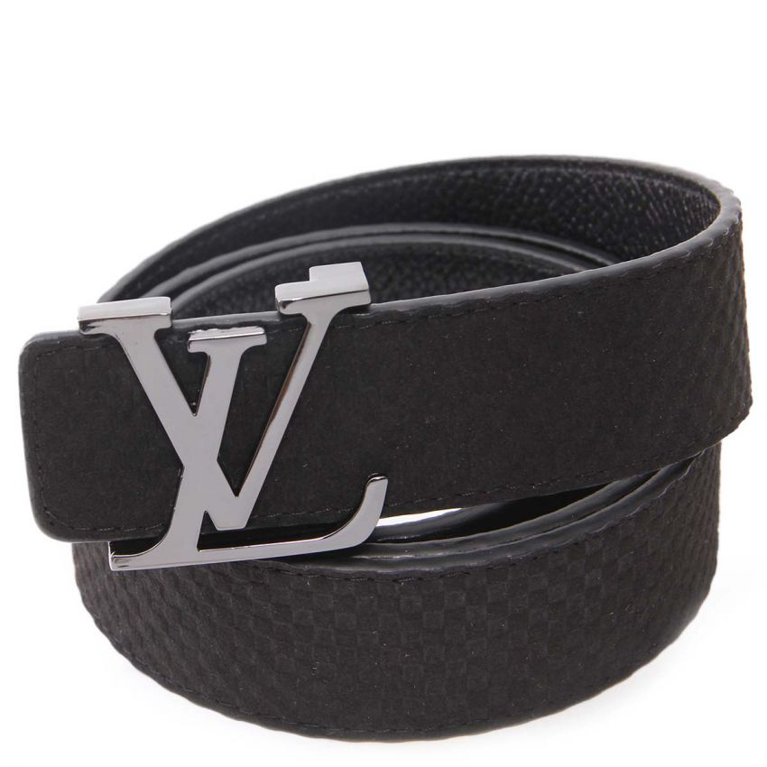 LOUIS VUITTON GUN METALLIC INITIALES BUCKLE BLACK DAMIER SUEDE