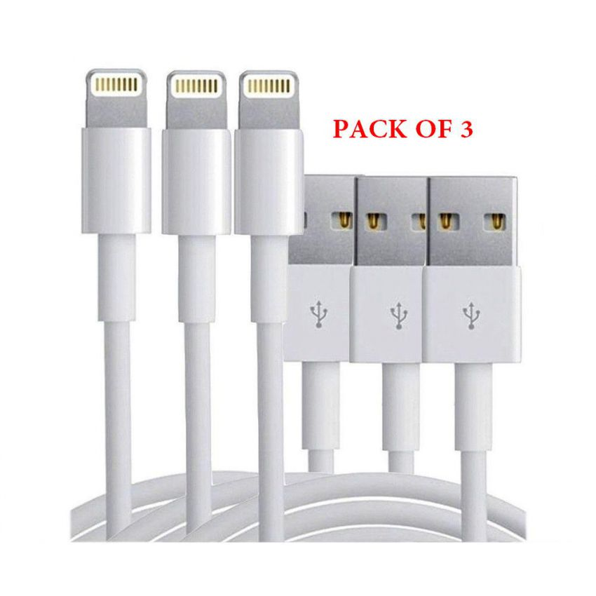 Pack of 3 USB Lightning Cable Data Sync Charger Co