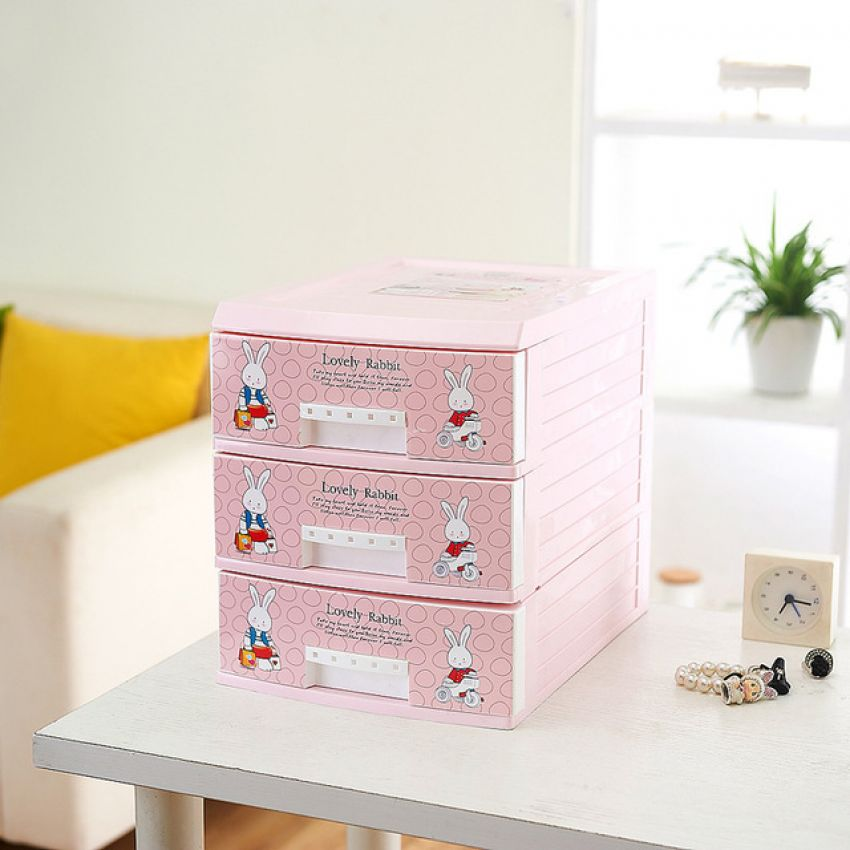 1 Pink Lovely Rabbit Plastic Drawer Storage Cabinet In