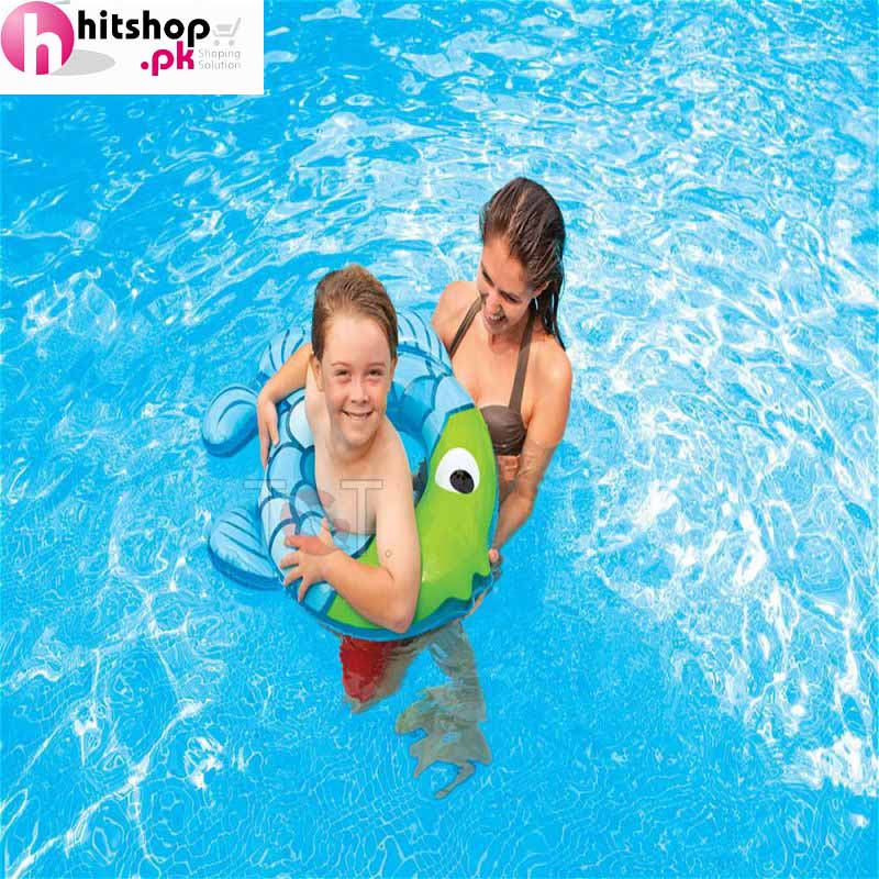 Intex inflatable swimming ring fish shape 59222np in for Intex pool koi pond