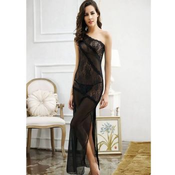 Taheras Black Long Lace One Shoulder Style Nightwe