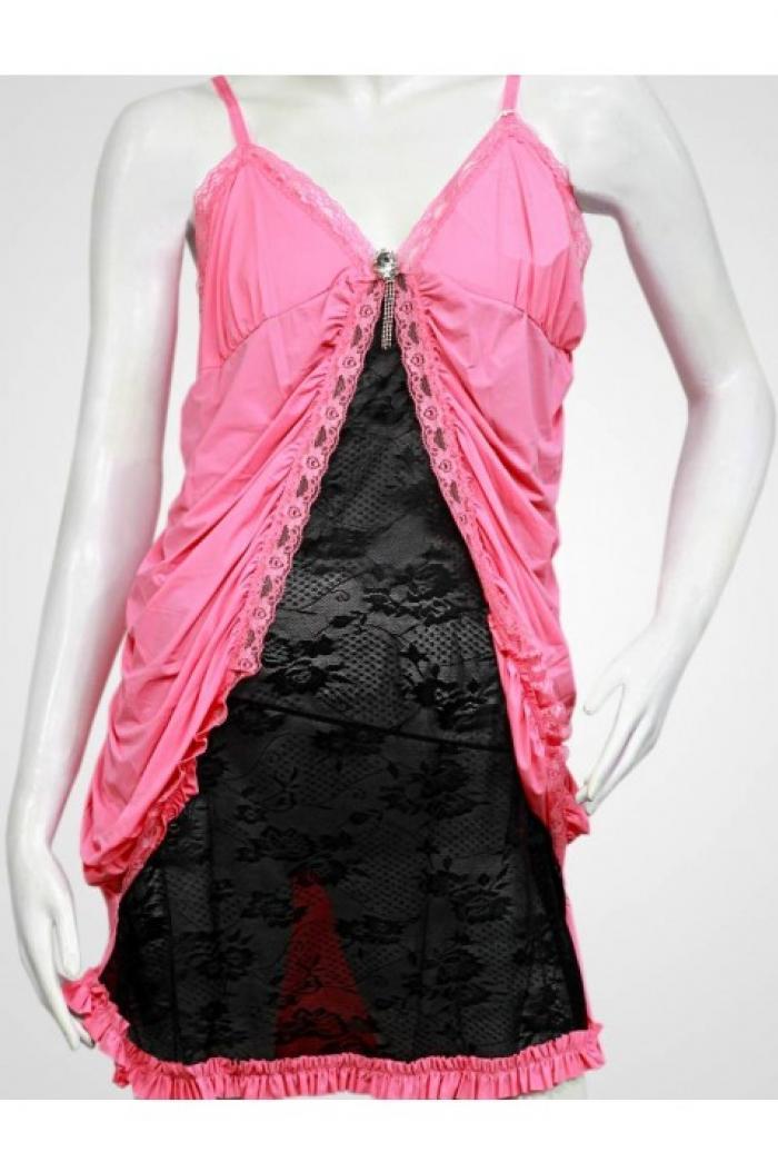 Pink black two piece women nighty set in pakistan hitshop for Bano market faisalabad dresses