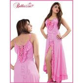 Soft Sensual Full Length Pink And Red Nightwear