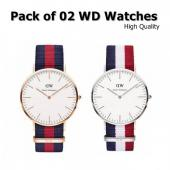 Pack Of 02 WD Bracelet Watch For Him Her