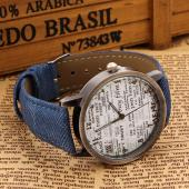 Denim Wrist Watch with Newspaper Designed Dial for