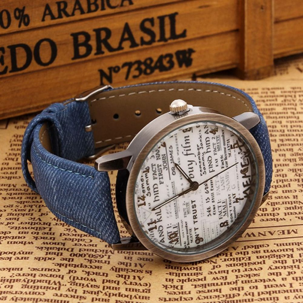 Denim Wrist Watch with Newspaper Designed Dial for Men And Women