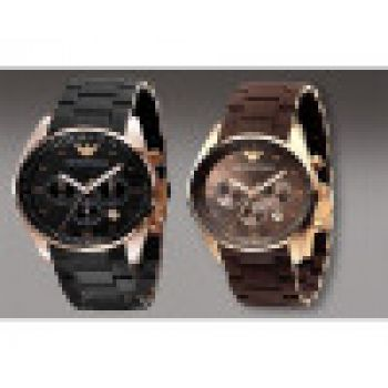 NEW 2 EMPORIO ARMANI BLACK BROWN WATCHES