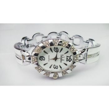 QUARTZ SILVER WHITE STONE LADIES WATCH